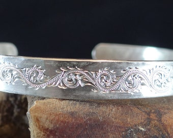 Hand Forged and Engraved Bright-cut Sterling Bracelet