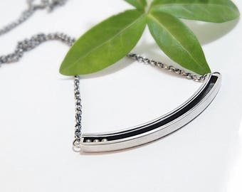 Silver Pendant Necklace, Sterling Silver, Bar Pendant, Bar Necklace, Kinetic Pendant, Kinetic Jewelry, Gifts For Her, Handmade Jewelry