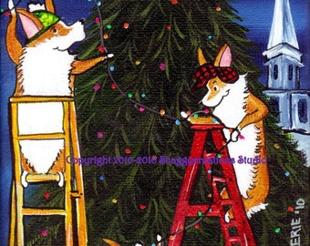 "PEMBROKE WELSH CORGI  Art Print  4"" X 4""  Christmas Corgi Art  ""Town Tree"" Holiday Corgi Art Christmas Tree Art  Old Fashioned Christmas"
