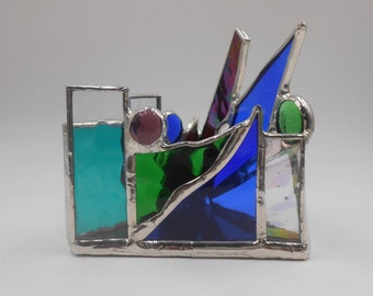Miniature #9 Flashy Peacock Triangle Shaped Stained Glass Candle Holder TEALIGHT ONLY Office Yoga Studio Bedroom Gifts For Him Gifts For Her