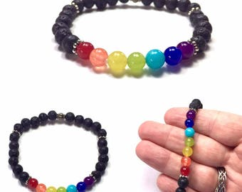 Chakra Bracelet with Lava Stone. Lava Rock, Aromatherapy Bracelet. Infuse with essential oils. Rainbow Pride Gemstone Bracelet