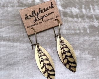 Earrings Raw Brass with Hand Printed Feather Oblong