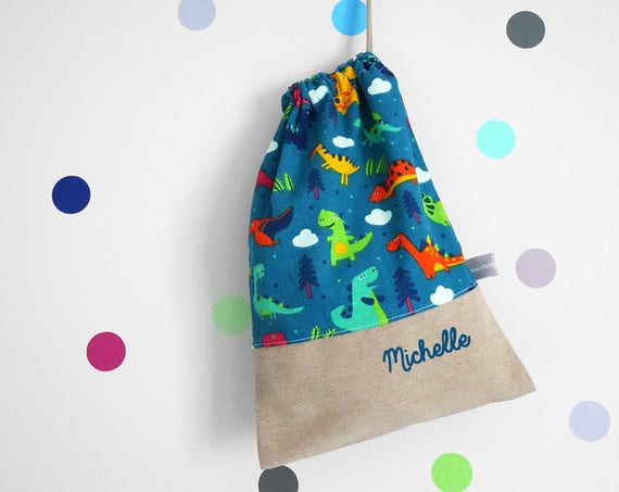 Customizable drawstring pouch - kids - kindergarden - dinosaurs - teal - blue - red- school - personalised - cuddly toy - slippers - toys