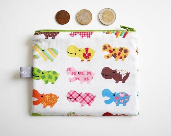 Coin purse - mini zippered pouch - hippos - chevrons - rainbow - colorful - handbag - bag - purse - gift for girls - Christmas