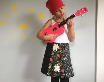 Girl Skirt, Snap Skirt, Fun Skirt, Flower Skirt, Wrap Skirt, adjustable skirt, Erin MacLeod, black skirt