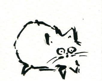 Original Black Cat Gouache Painting ACEO number 175