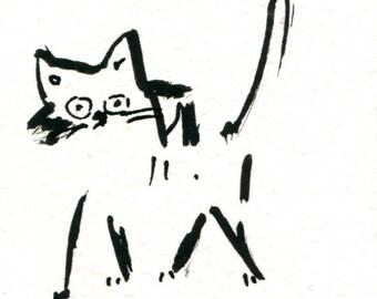 Original Black Cat Gouache Painting ACEO number 174