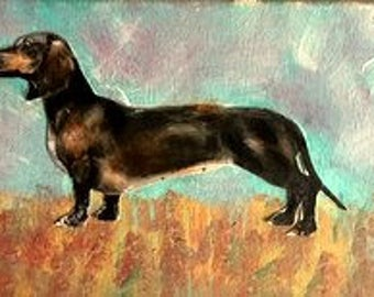 dachshund long Painting   mixed media acrylic on canvas Heather Murray
