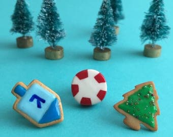 Winter Holiday Lapel Pin - Christmas Tree Cookie, Dreidel Cookie, Peppermint Swirl Candy - polymer clay miniature food jewelry