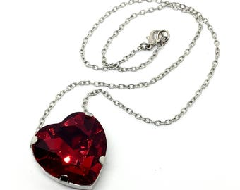 Red Heart Crystal Necklace - Large Bright Crimson Red Heart Shaped Pendant - Available In Silver or Gold, Swarovski Crystal