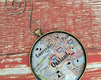 Oakland Map Ornament, FREE SHIPPING, Ornament Personalized, East Bay Map Ornament, California Map Ornament, Map Ornament, 50mm Ornament