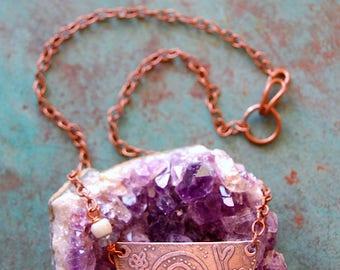 Garden Friend / Etched Copper Snail Necklace