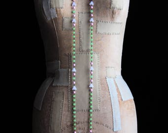 DOGBANE necklace long chain glass bead bellflower wildflower beaded flapper jazz age