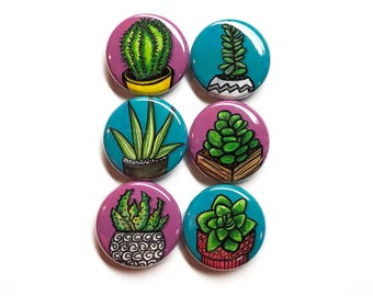 Succulent Plant Pin Back Badge or Fridge Magnet Set - Succulent Magnets or Succulent Pinback Buttons - Gift for Succulent Lover, Green Thumb