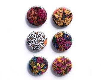 Flower Magnet Set or Pin Set - Colorful Cute Magnets or Pinback Buttons - Stocking Stuffer, Party Favor, Teacher or Office Coworker Gift