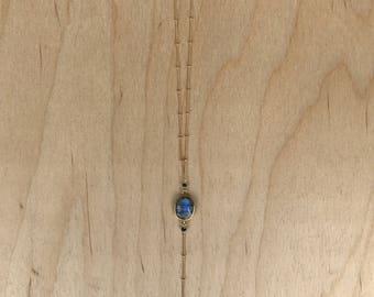 Labradorite Gold Feather Y Necklace