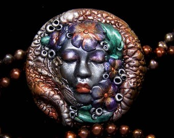 Metallic Velied Lady with Flowers handmade OOAK polymer clay goddess Cameo Face Cab Cabochon