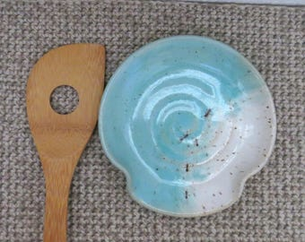 Spoon Rest - Handmade Stoneware Pottery Ceramic - Blue Celadon and White - Ants