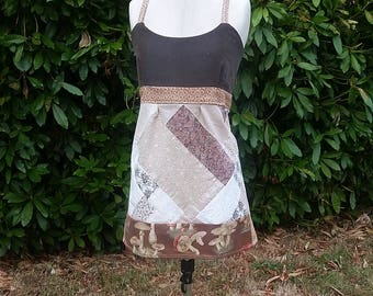 Handmade Hippie Patchwork Mushroom Print Open Back Apron Top ~ size medium ~