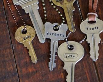 Hand Stamped Key Necklace -  Custom Word Key - Custom Name Key - Hand Stamped Jewelry - Personalized Key Necklace - Inspirational Jewelry