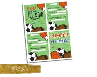 Valentines Day Cards for Boys - Printable Valentine's Day Cards for Kids - Sports Valentine's Day Cards for Class - Instant Download