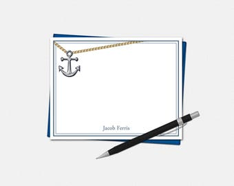 Personalized Nautical Note Cards - Anchor Note Cards - Set of 10 - Masculine Note Cards - Flat Note Cards - Personalized Note Cards for Men