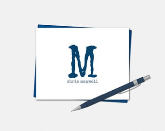Personalized Modern Monogram Note Cards - Set of 10 - Folded Note Card - Men's Stationery - Masculine Note Card - Monogrammed Note Card