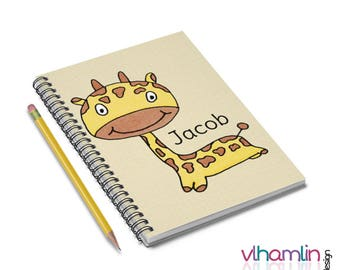 Spiral Notebooks - Custom Notebooks - Giraffe Notebook - Cute Gifts - Birthday Gifts for Boys - Personalized Notebooks