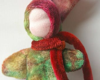 "Waldorf Boy Pocket Doll: Eco Friendly Little Bunting Doll (Hand Dyed Organic Bamboo Velour, 5"")"