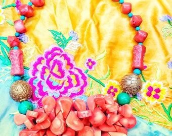 Bohemian coral necklace