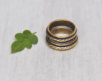 1 Vintage Brass Spinner Band Ring - spinning rope braid thin stacking ring - Size 8.5, 9.75