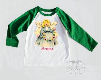 Christmas Angel Shirt - Green Christmas Shirt - Retro Angel Shirt - Angel Name Tee - Baseball Shirt Vintage - Merry Christmas Angel Shirt