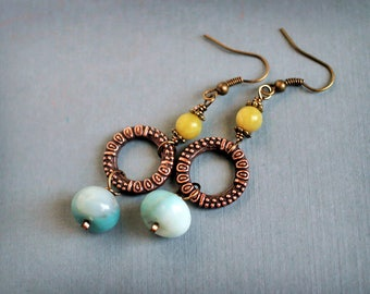 Rustic chic. Bohemian style dangle earrings. Aquamarine, Jade. Light weight. Brass and gemstones earrings.