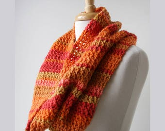 SAMPLE SALE Merino Wool Blend Chunky Lace Infinity Scarf in Multi Orange and Red, Warm, Winter, Made in New York, Unisex, Bright, Colorful