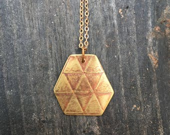 HEX //  Etched Brass Necklace