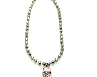Necklace 6.3mm Ball Bead Chain 14, 15, 16, 18, 20, 24 or 30 inch Skull Pendant Crystal Eyes Choker