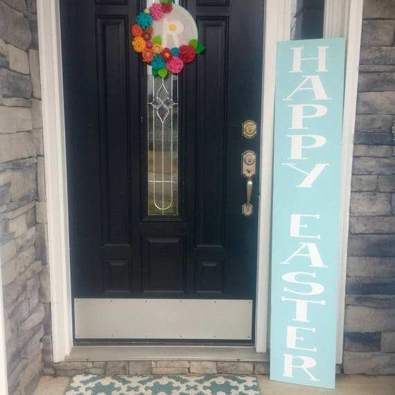 Reversible Front Porch Sign • Happy Easter Sign • Happy Spring Sign • Oversized Welcome Sign • Entryway Sign • Extra large wooden sign