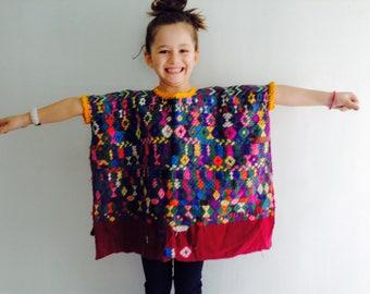 Vintage Child's Churrancho Hand-Woven Guatemalan Huipil. Boho Beauty