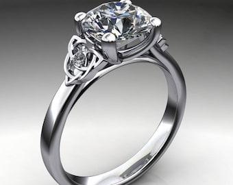 seana ring - 2 carat round NEO moissanite engagement ring, celtic engagement ring