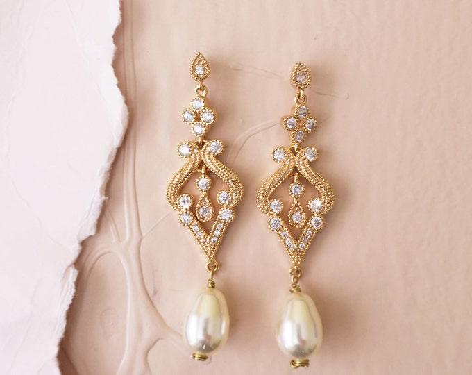 Art Deco Inspired Gold Bridal Earrings EDNA