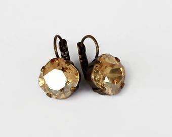 Swarovski crystal 12mm square fancy stone golf earrings crystal golden shadow,antique brass pl.setting
