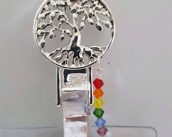 "ID Badge Holder SilverTree of Life Chakra Crystal  Badge Holder Lanyard 30-32"""