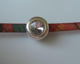 Rhinestone slider bead 8 x 2mm flat leather hole finding-leather bracelet-ONE BEAD