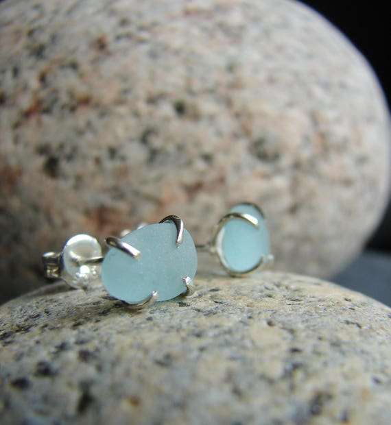 Tiny Ocean sea glass stud earrings in softest blue