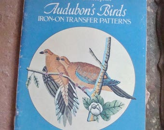 Audubon's Birds Iron On Transfer Patterns Needlework Embroidery Stitch & Color Charts 1970 Dover Publications