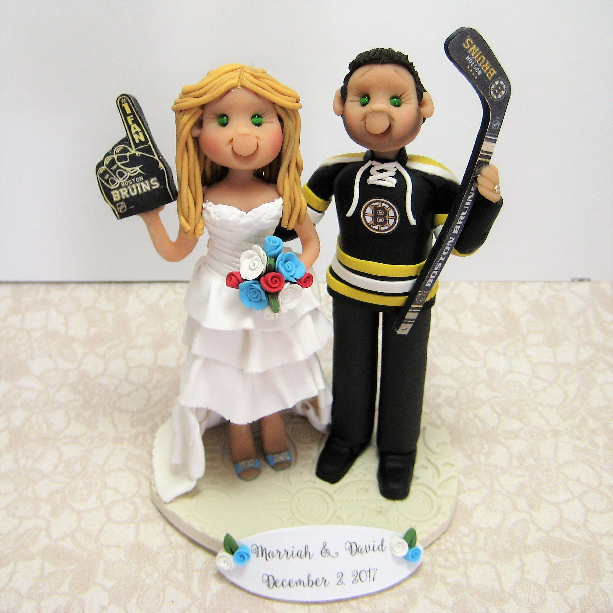 custom hockey wedding cake toppers deposit for a customized hockey player wedding cake topper 13202