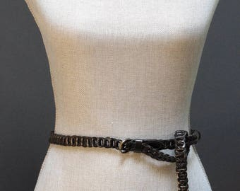 Vintage Black Braided Skinny Belt, Woven Black Belt, Knotted Black Belt, Thin Faux Leather Belt, Black Braided Belt, Leather Hip Belt
