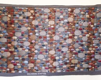 Jacquard woven panel, for wall hanging, Grey Stones, by Laura Foster Nicholson. Free Shipping.