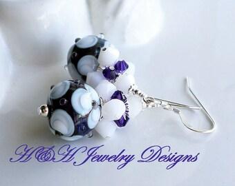 Purple Lampwork Earrings, White Floral Lampwork Earrings, Purple Glass Earrings, White Glass Earrings, Lampwork Glass Earrings, Purple Beads