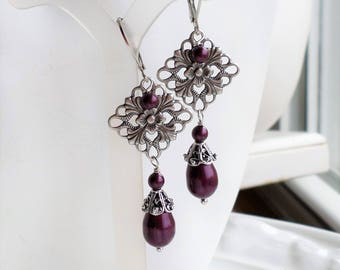 Berry Pearl Filigree Earrings, Antiqued Silver Chandelier Earrings, Blackberry Pearl Drop Dangle Silver Earrings, Silver Filigree Earrings